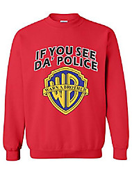 cheap -if you see da police warn a brother funny humour crewneck sweater red