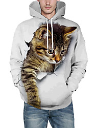 cheap -Men's Pullover Hoodie Sweatshirt Cat Graphic 3D Front Pocket Hooded Daily 3D Print 3D Print Hoodies Sweatshirts  Long Sleeve White