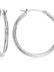 cheap -14k white gold hand engraved full diamond-cut round hoop earrings (18mm (0.7 inch))