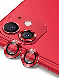 cheap -wsken camera lens protector for iphone 11 hd tempered glass film aluminum alloy lens screen cover case (red)