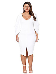 cheap -women's casual fashion cascading slit long sleeve midi bodycon plus size cocktail party dress 4xl white