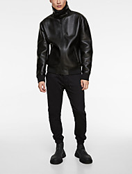 cheap -men's black aviator b3 real shearling sheepskin leather bomber flying pilot jacket, large