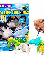 cheap -sea life figurines 2 resin paintables by horizon group usa, shark & turtle, acrylic paints & brush included