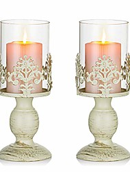 cheap -pcs of 2 vintage metal pillar candle holder antique hurricane candlestick with glass screen cover accent display for home wedding candlelight dinner decoration (s+s)