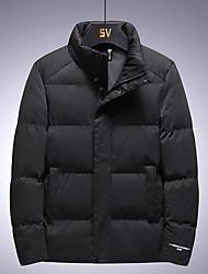 cheap -Men's Puffer Jacket Parka Plus Size Solid Colored POLY Black / Khaki / Gray M / L / XL