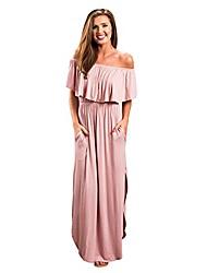 cheap -women summer long maxi boho evening party dress with pocket ladies summer party evening sleeveless long maxi dress(pink,uk-8/cn-s)