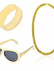 cheap -80s 90s hip hop rapper gangster costume kit - retro glasses gold chain necklace gold plated hip hop ring accessories kit (c)