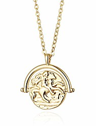 cheap -18k gold plated medallion necklace coin pendant round circle disk minimalist jewelry for women 20''