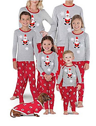 cheap -Family Look Family Matching Outfits Clothing Set Graphic Long Sleeve Print Gray Christmas
