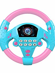 cheap -toy electronic steering wheel, driving simulator toy with lights & music, simulate sounds like fire trucks/ambulances/police cars, early education puzzle for kids boys girls baby (pink blue)