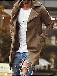 cheap -mens double breasted trench coat notched lapel casual slim fit cotton long windbreaker overcoat army green