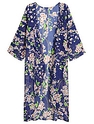 cheap -women's summer long cover up chiffon kimono cardigan plus size capes 4x-large blue