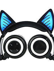 cheap -Wireless Bluetooth Headphones with Cat Ear On-Ear Foldable LED Gaming Flashing Lights USB Charger Earphone Headset for Children Compatible with iOS Phone and Android Phone Laptop