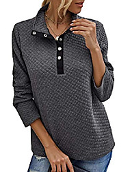 cheap -women fashion quilted pattern lightweight zipper long sleeve plain casual ladies sweatshirts pullovers shirts tops (buttons grey, x-large)