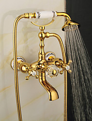 cheap -Bathtub Faucet - Contemporary Electroplated Wall Installation Ceramic Valve Bath Shower Mixer Taps
