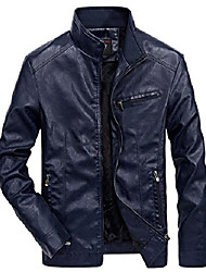 cheap -men's stylish full zip mid-weight motorcycle faux pu leather jacket (small, dark blue)