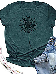 cheap -dandelion graphic t shirt women wildflower make a wish vintage tees top funny summer short sleeve shirts (x-large, green1)