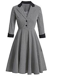 cheap -Women's A-Line Dress Knee Length Dress 3/4 Length Sleeve Houndstooth Patchwork Print Fall Summer Vintage Cotton 2021 Black Navy Blue S M L XL XXL