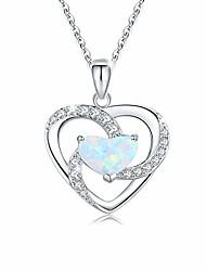 cheap -opal necklace heart necklace 925 sterling silver opal jewelry opal heart necklace opal gifts for women