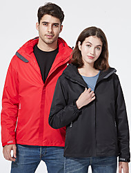 cheap -Women's Hiking 3-in-1 Jackets Winter Outdoor Solid Color Thermal Warm Waterproof Windproof Fleece Lining Jacket Top Hunting Fishing Climbing Female-China Red Male-China Red Male-fog blue Female-retro