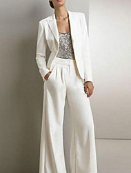 cheap -Pantsuit / Jumpsuit Mother of the Bride Dress Elegant Jewel Neck Floor Length Polyester Long Sleeve with Ruching 2021