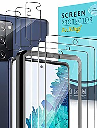 cheap -zeking [6 pack] 3 pack screen protector with 3 pack camera lens protector for samsung galaxy s20 lite/ s20 fe 5g (6.5inch), tempered glass hd clear [case friendly][easy installation frame] 9h hardness