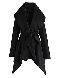 cheap -Women's Solid Colored Lace up Active Fall & Winter Trench Coat Long Going out Long Sleeve Wool Blend Coat Tops Black