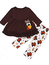 cheap -little girls thanksgiving day outfit toddler funny turkey pant set (brown,6-12 months)