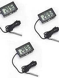 cheap -3pcs Digital Embedded Thermometer LCD Instant Read Refrigerator Aquarium Monitoring Display with Waterproof Detector