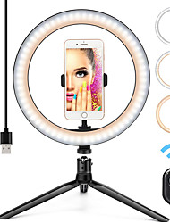 cheap -10 Ring Light LED Desktop Selfie Ring Light USB LED Desk Camera Ringlight 3 Colors Light with Tripod Stand iPhone Cell Phone Holder and Remote Control for Photography Makeup Live Streaming