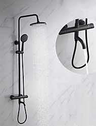 cheap -200 * 200 Matte Black Shower Faucets Sets Complete with Brass Shower Head and Plastic Handshower  Mount Outside Rainfall Shower Head / Handshower System
