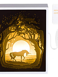 cheap -Papercut Light Boxes 3D Shadow Box LED Light Unicorn Night Lamp Christmas Gift Atmosphere Mood Light for Kids Adults Baby Nursery Kids Bedroom Living Room Christmas Decoration