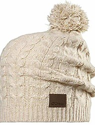 cheap -women's cashmere beanie with cable pom, natural, one size