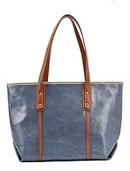 cheap -Women's Bags PU Leather Tote Top Handle Bag Zipper Outdoor Office & Career 2021 Handbags Black Blue Green Brown