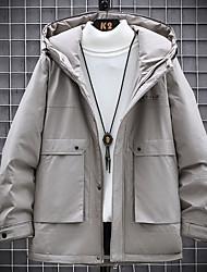cheap -Men's Puffer Jacket Parka Letter POLY Black / Army Green / Khaki M / L / XL