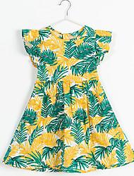 cheap -Kids Girls' Trees / Leaves Print Short Sleeve Midi Dress Green