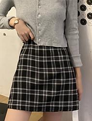 cheap -women's plus size plaid print split hem skirt black 1xl