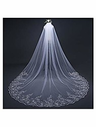 cheap -3 meter cathedral wedding veils long lace edge bridal veil with metal comb,white