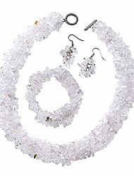 cheap -white crystal quartz chips stainless steel earrings, 6.5 inches bracelet and 18 inches necklace set