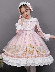 cheap -Lolita Princess Lolita Vacation Dress Dress Cosplay Costume Masquerade Girls' Japanese Cosplay Costumes Pink Print Long Sleeve Midi / Kid's