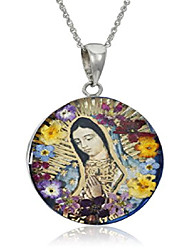 cheap -sterling silver virgin mary of guadalupe pressed flower pendant necklace, 18""