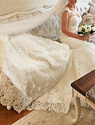 cheap -Mermaid / Trumpet Wedding Dresses V Neck Chapel Train Lace Sleeveless Country Sexy with Pleats Appliques 2021