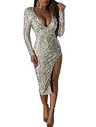cheap -Women's Prom Dress sequins high waist bodycon solid color dress sexy sequined side split skirt sparkly split bridesmaid gowns silver s