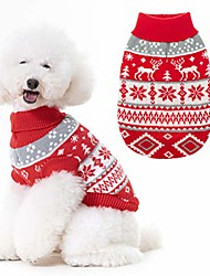 cheap -christmas snowflake turtleneck dog sweater - cute pullover pet knitwear cold weather clothes outfit for cats & dogs