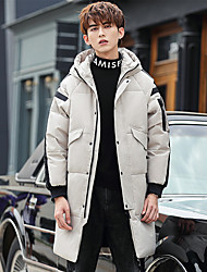 cheap -Men's Down Parka Solid Colored POLY White / Black / Red M / L / XL
