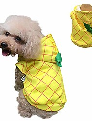 cheap -halloween dog pineapple costume pet coat jacket yellow autumn winter apparel cat hoodies puupy clothes french bulldog chihuahua (s (chest 42cm/ 16.5in))
