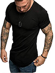 cheap -mens casual short sleeve t-shirts bodybuilding muscle fitness gym workout tee tops (medium, style1 black)