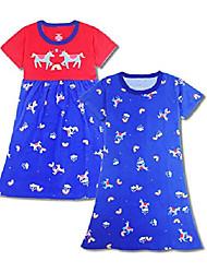 cheap -girls dress short sleeve nightgowns cinch waist 100% cotton casual dress summer t-shirt dresses horse pajamas skirt size s(3-4 years)