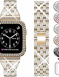 cheap -compatible apple watch band 38mm 40mm 42mm 44mm with case women,rhinestone metal jewelry wristband strap with bling pc protective case replacement for iwatch series 5 4 3 2 1(champagne gold)