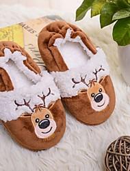 cheap -little kids boys plush lining slippers cute santa rubber hard sole size 10-11 us santa claus red